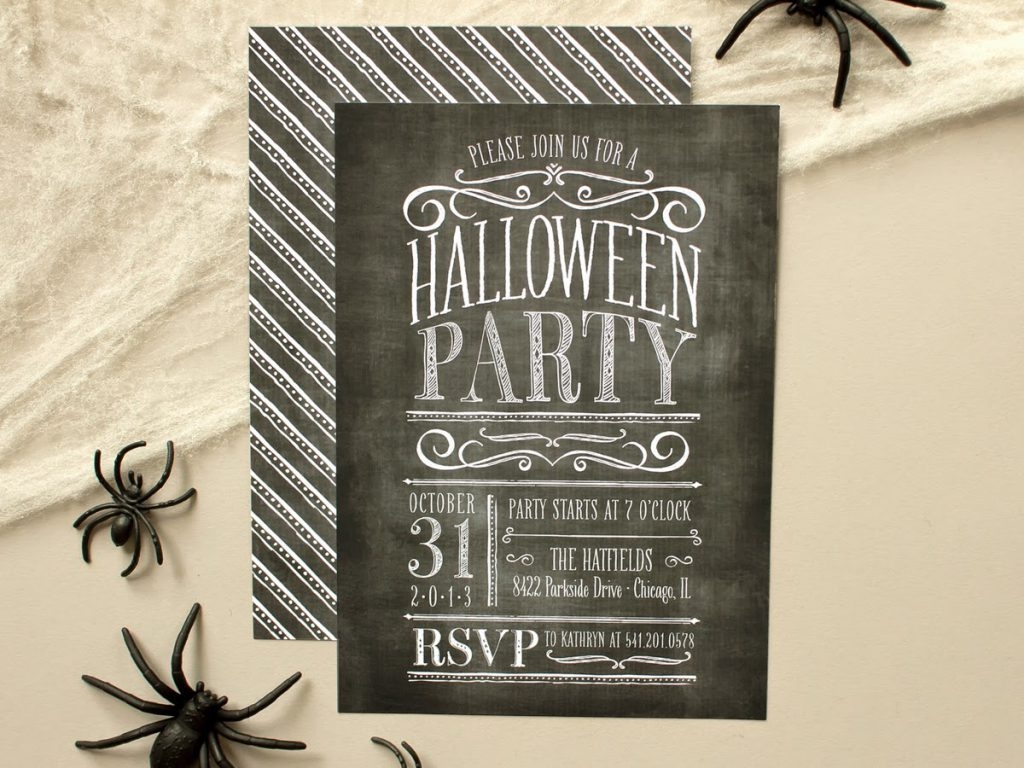 halloween party invite vintage chalkboard lettering