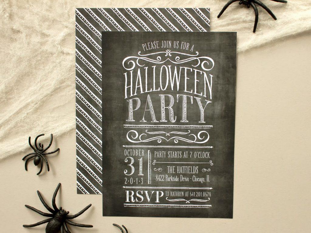 halloween party invite vintage chalkboard lettering