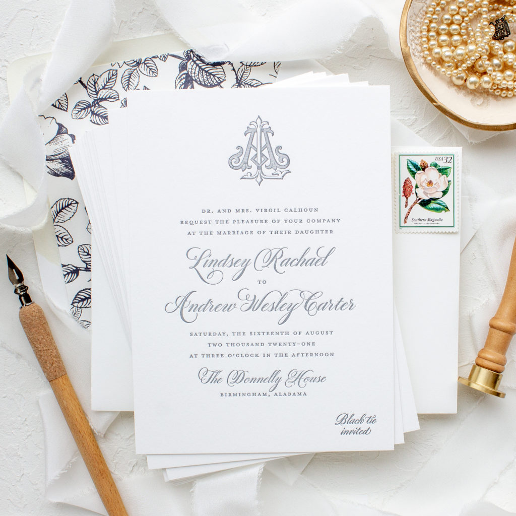 vintage monogram letterpress wedding invitations