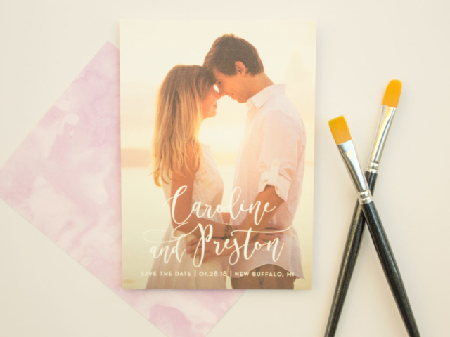 watercolor wash wedding save the date