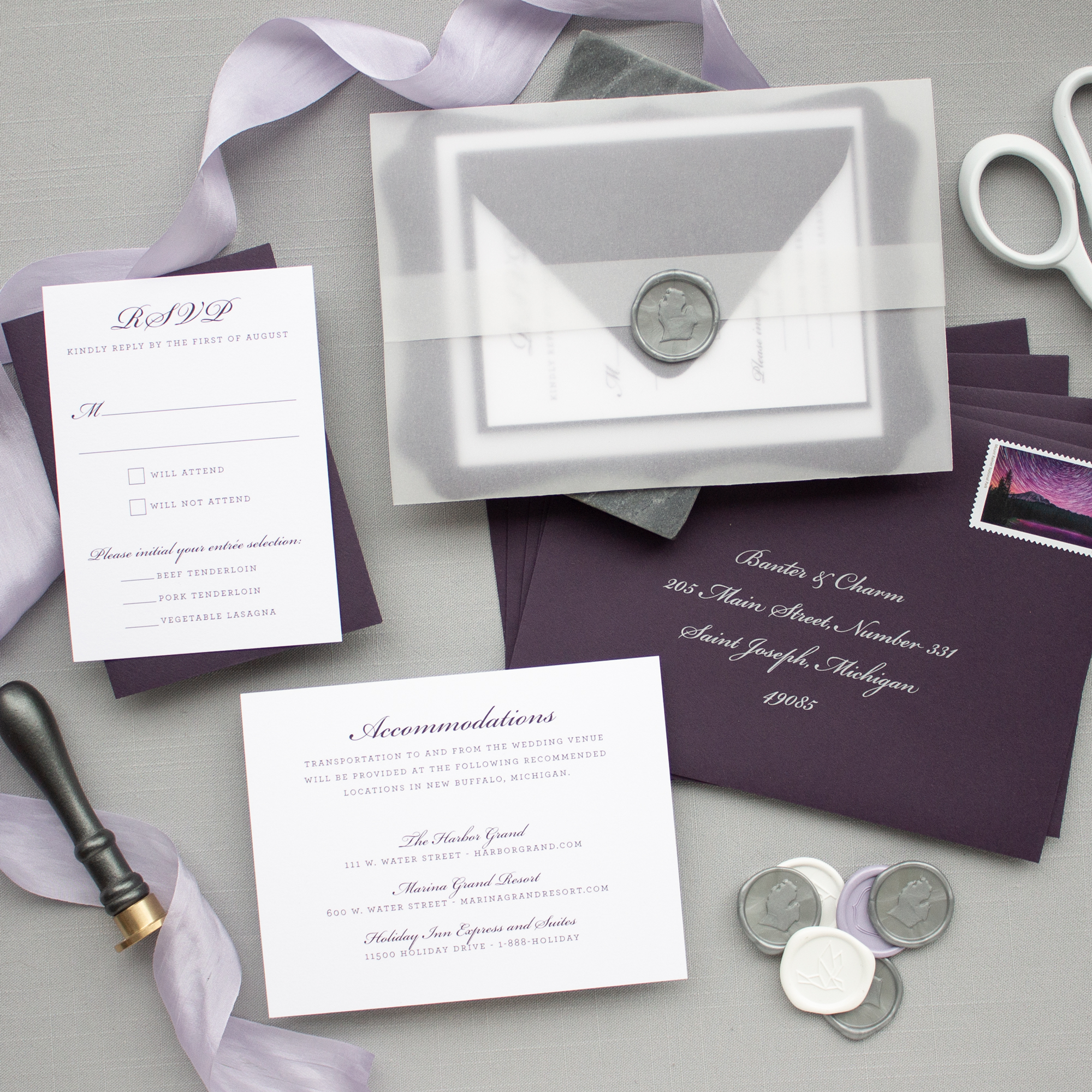 wax seal and vellum invitation suite