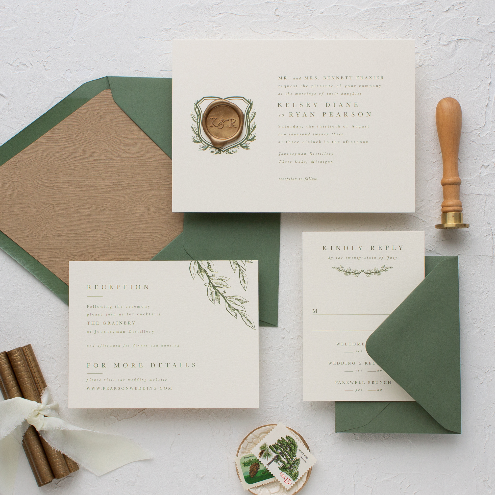 wax seal wedding invitation suite