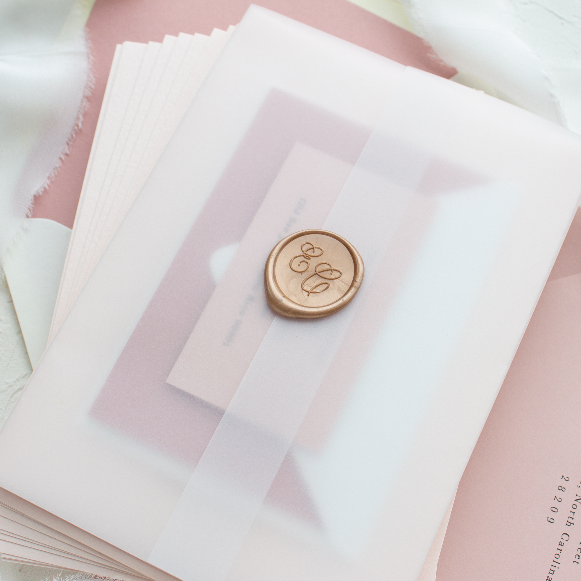 wax seal and vellum wedding invitations