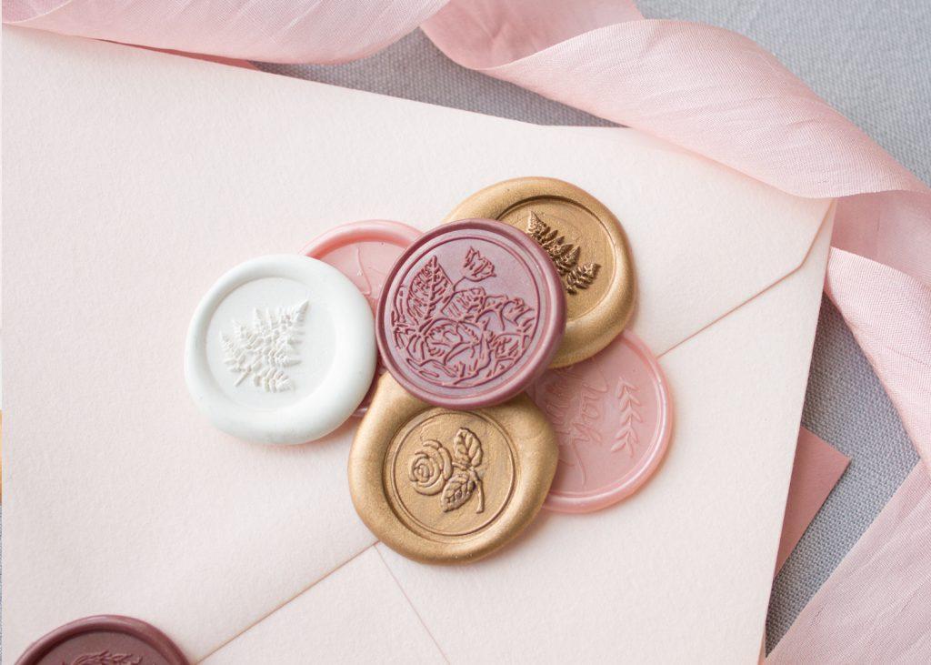 metallic wax seals for wedding invitations