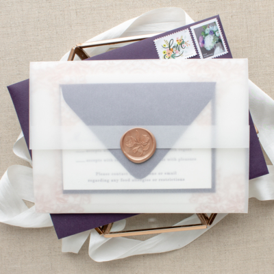 wax seal vellum wedding invitations