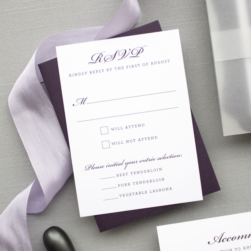 wedding rsvp with entree choice