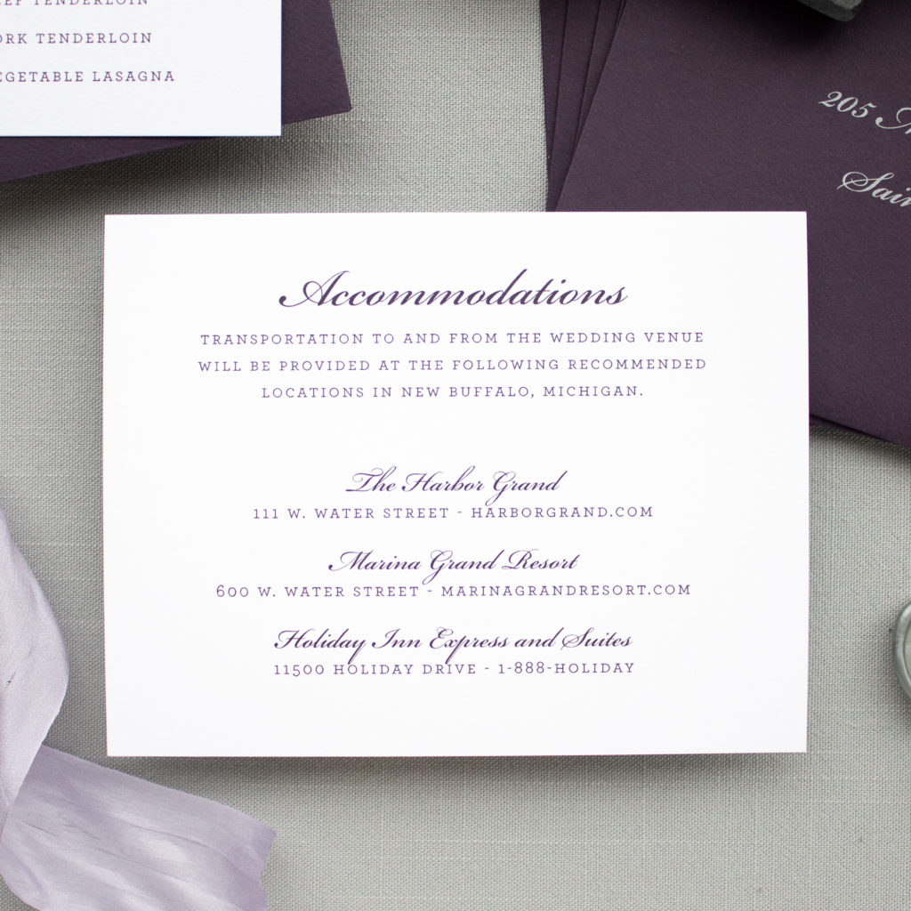 wedding accommodations insert card