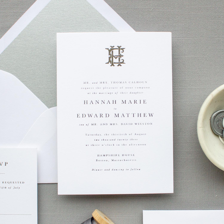 wedding invitations with custom monogram