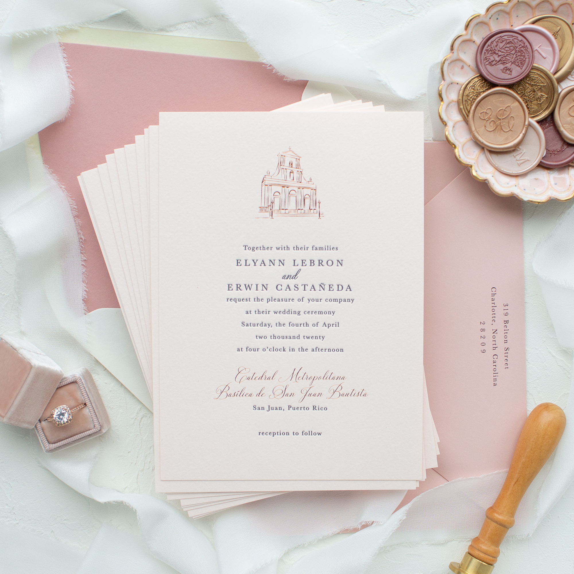 wedding invitations with custom venue sketch