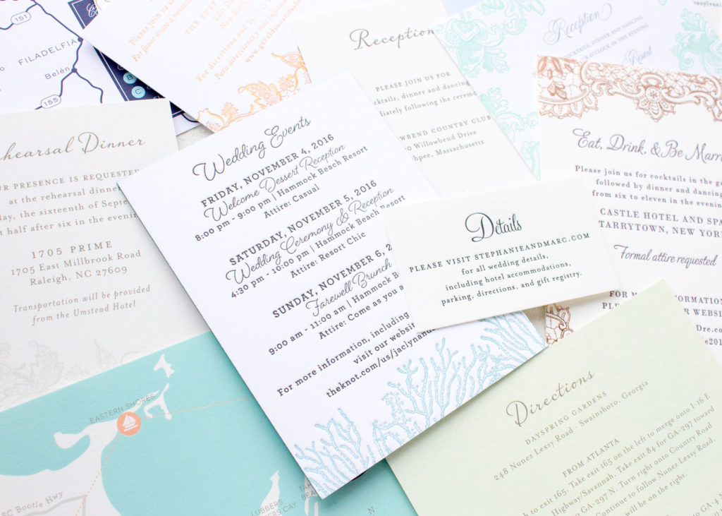 wedding itinerary insert card