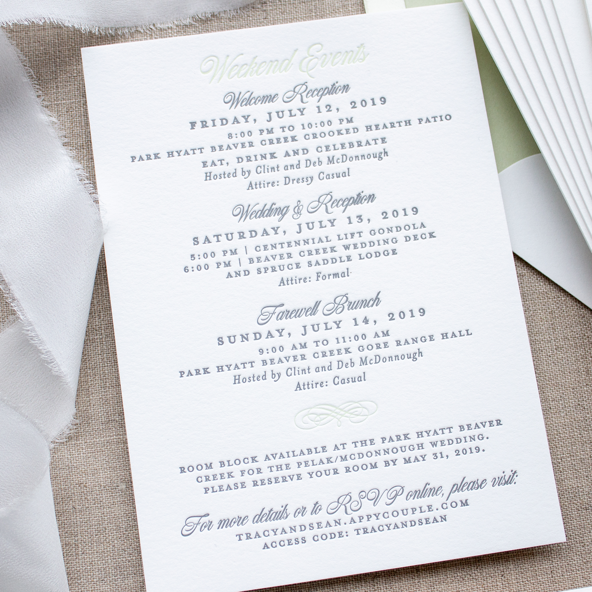Weekend events insert card with wedding itinerary
