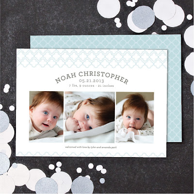 quatrefoil announcement, photo card, birth announcement, preppy baby announcement