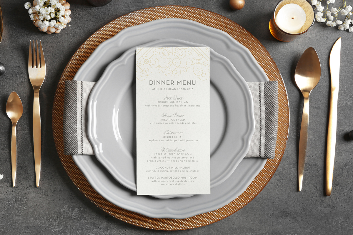 Art deco dinner menu