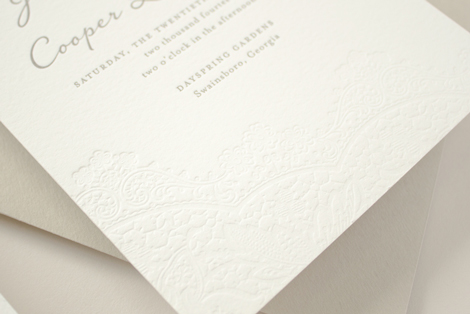 blind letterpress wedding invitation