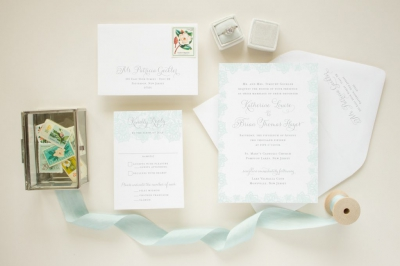 custom invitation suite with blue lace