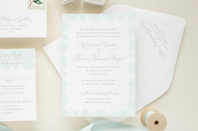 custom invitation with blue lace border
