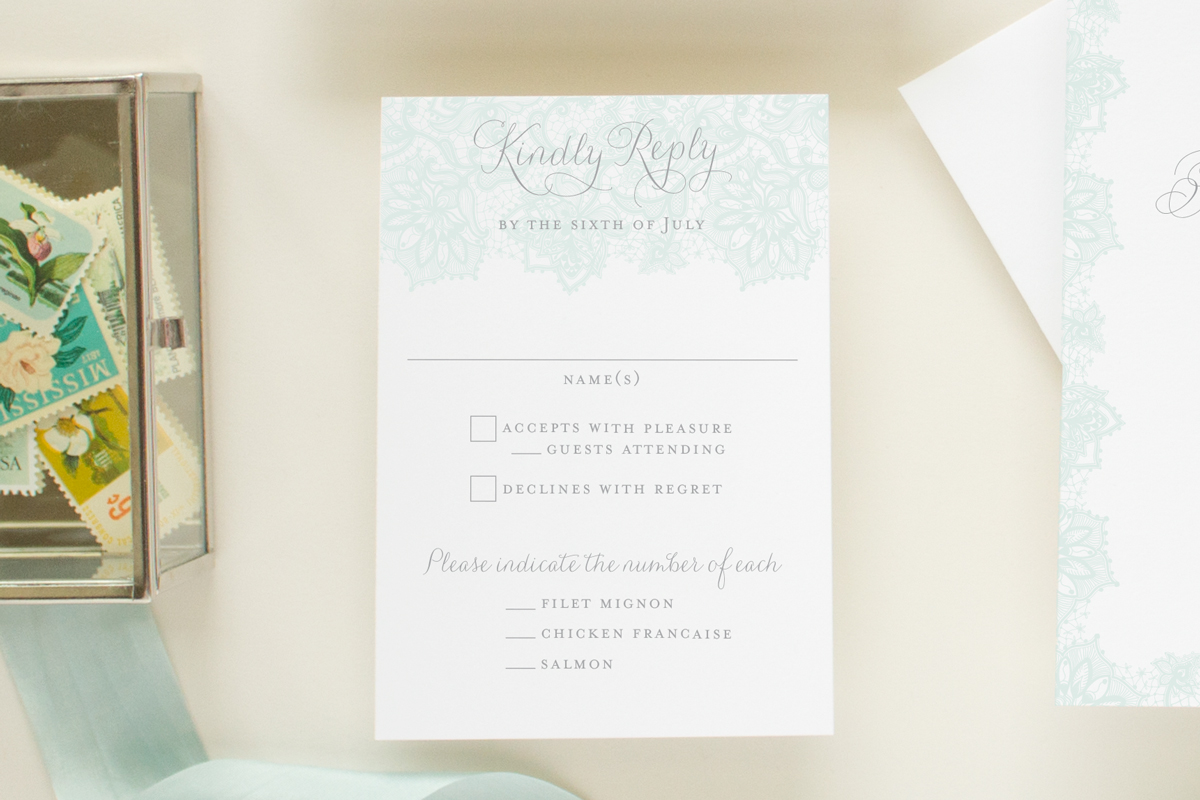 wedding rsvp card with blue lace detail