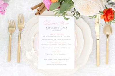 Typographic dinner menu