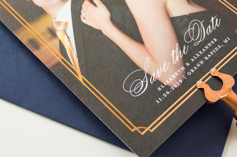 copper foil save the date