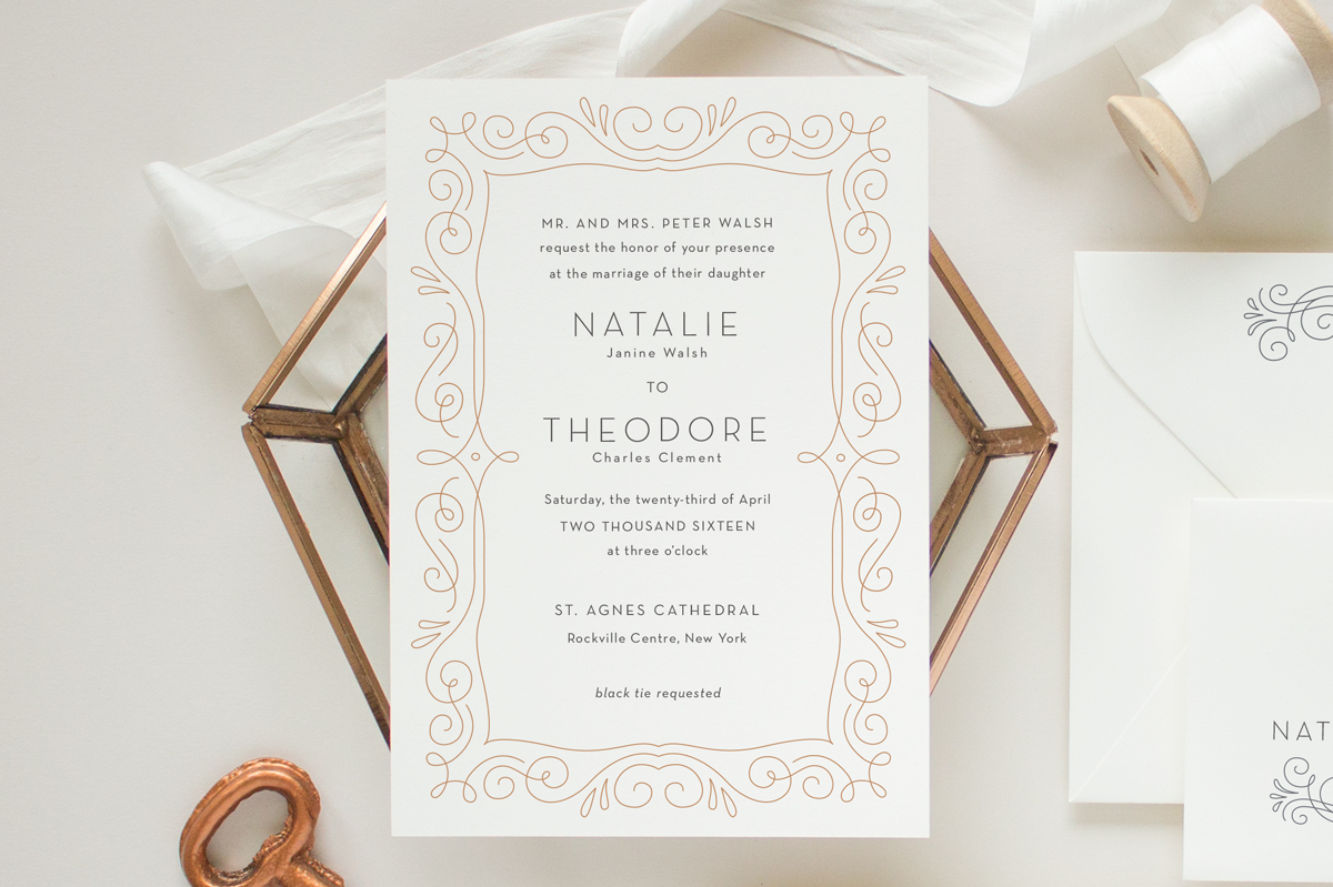 Custom art deco wedding invitation