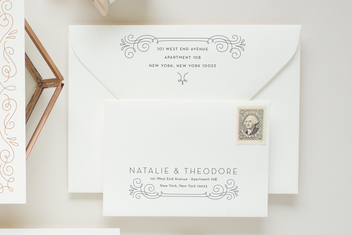 Art deco wedding envelopes