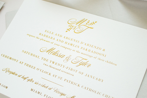 foil stamp wedding monogram
