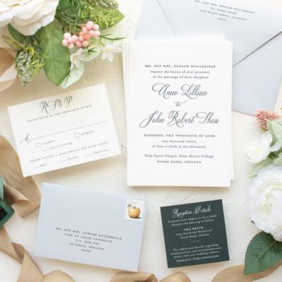 Custom invitations for Notre Dame weddings