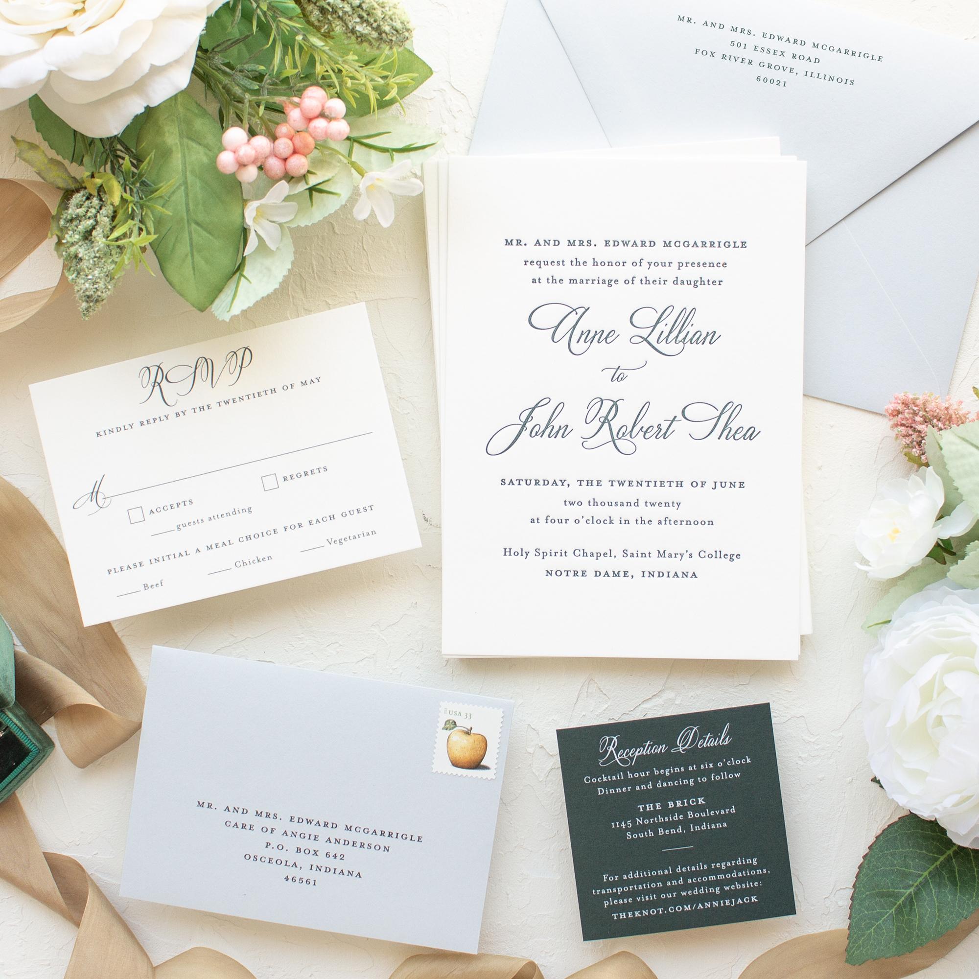 custom invitations notre dame wedding