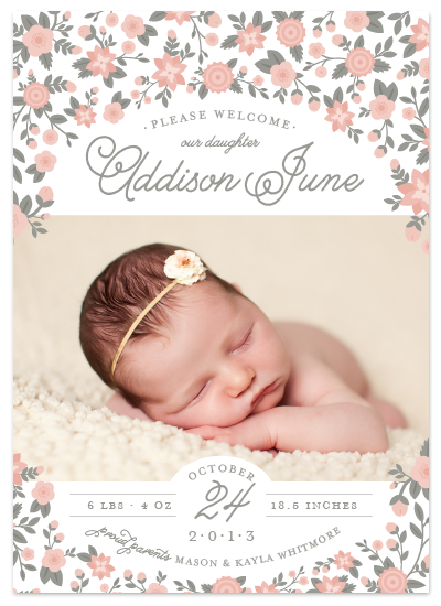 floral baby girl announcement for minted