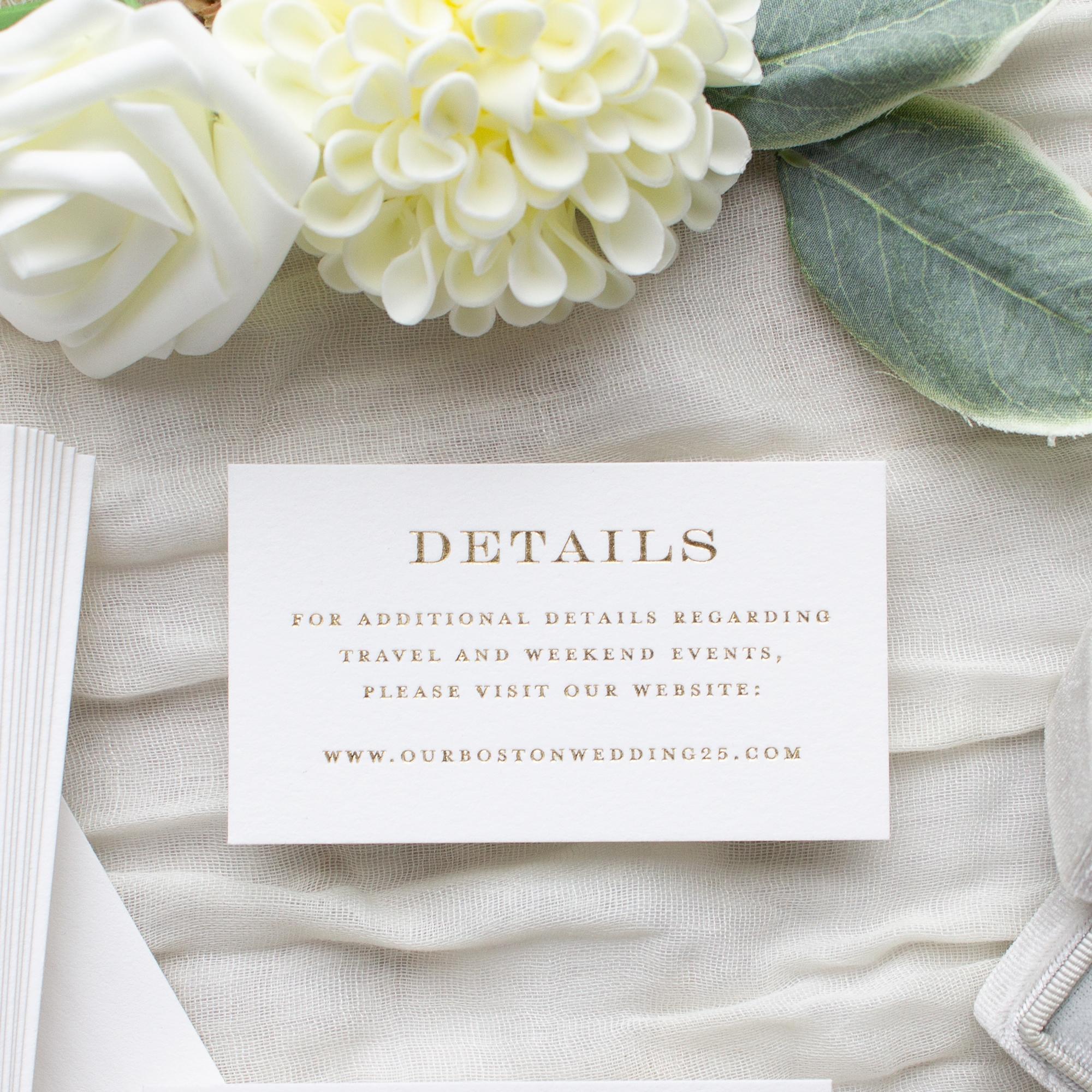 foil stamped wedding details card