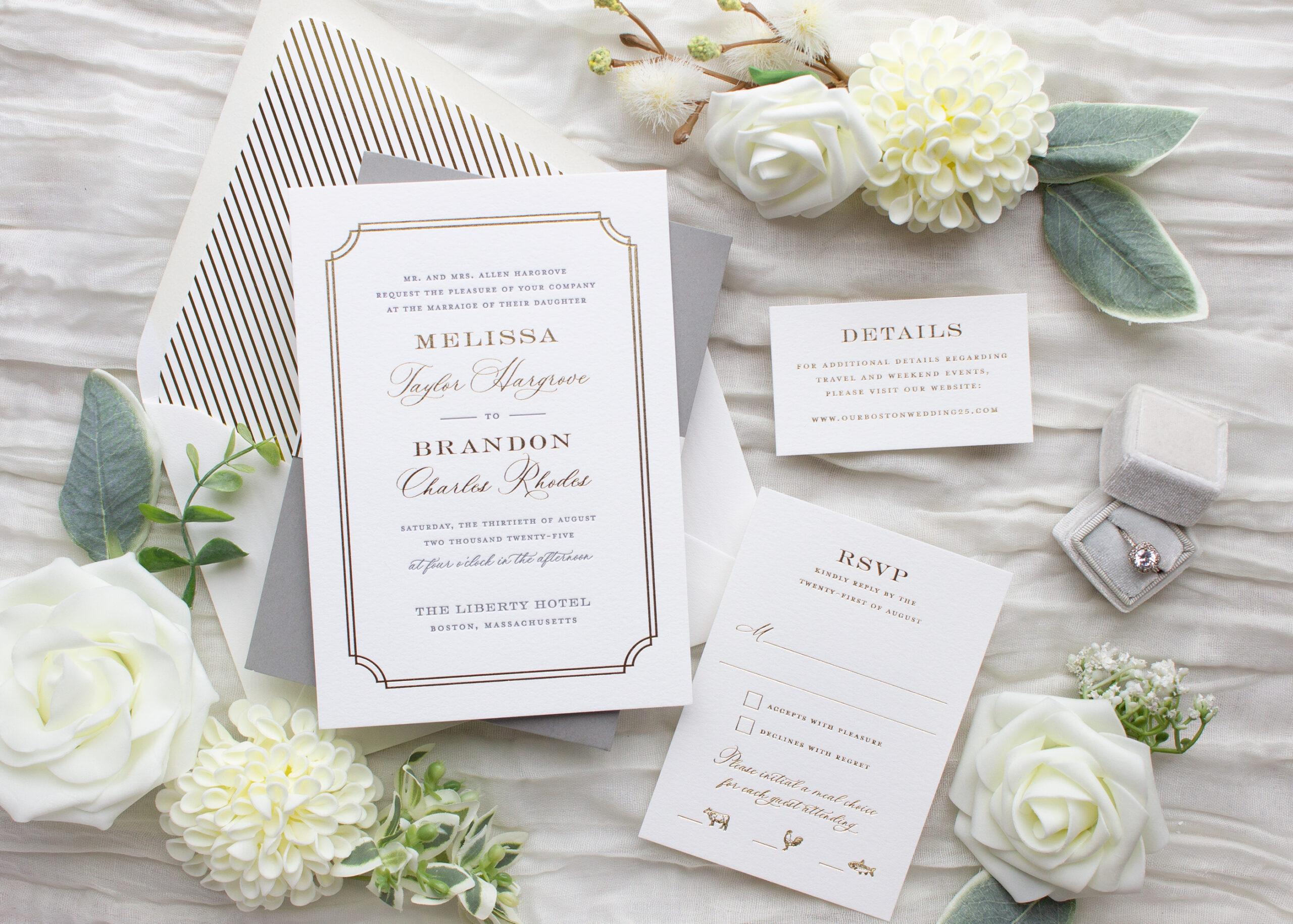 foil stamped wedding invitation