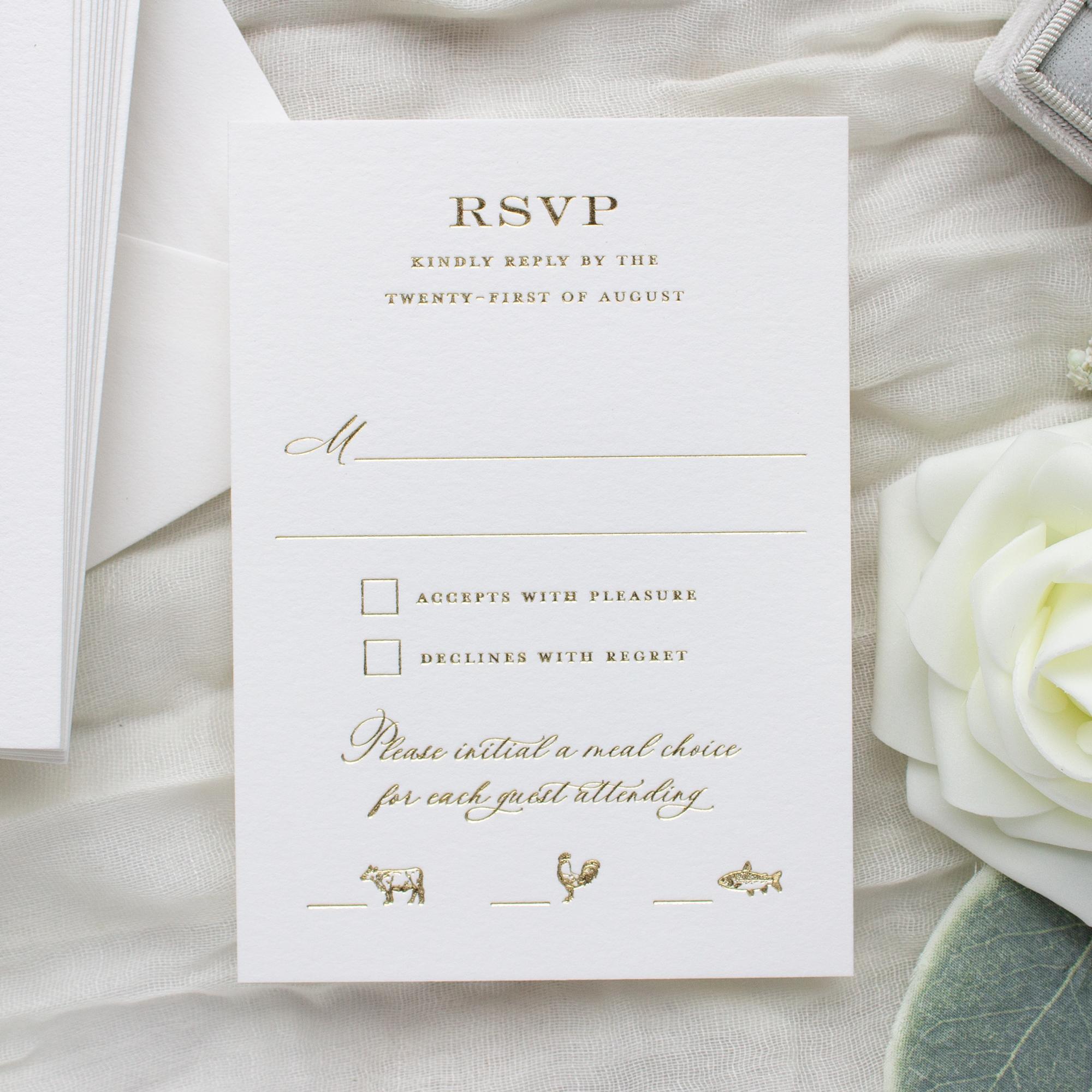 foil stamped wedding rsvp card