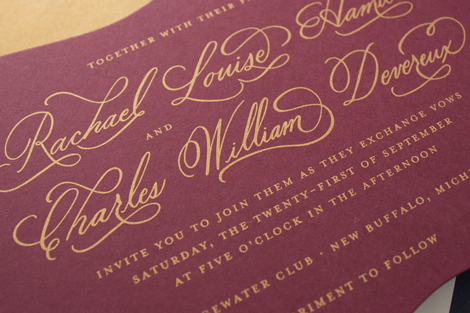 gold screen printing on burgundy paper