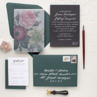 Calligraphy invitation with printed vellum