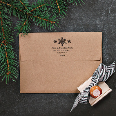 custom rubber return address stamp with wood handle, holiday christmas theme