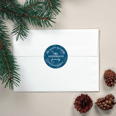 snowflake address label sticker, blue snowflakes, holiday, christmas, banter & charm
