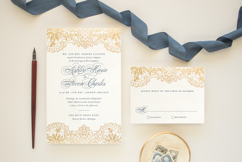 gold foil lace invitation