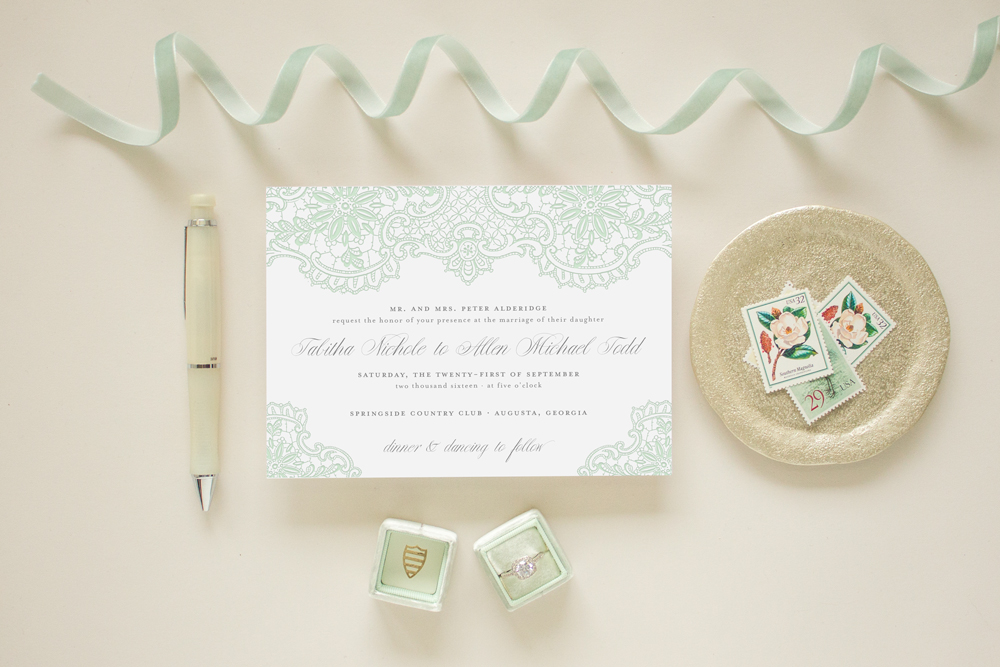 mint green letterpress invitations