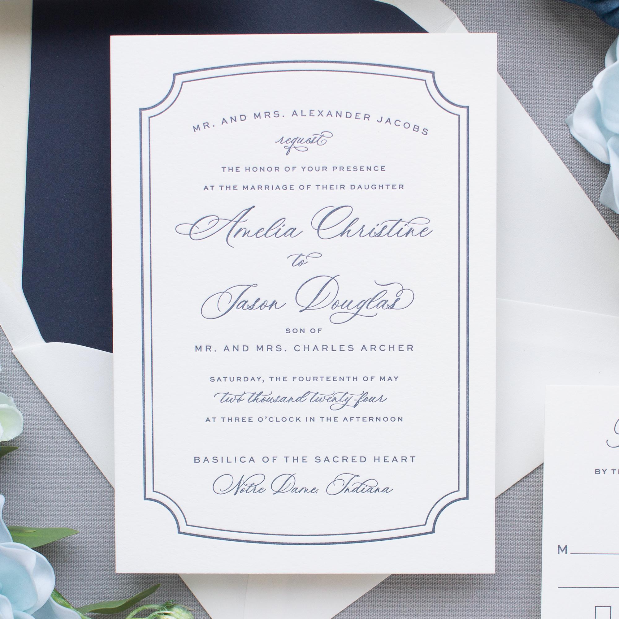 letterpress border wedding invitations