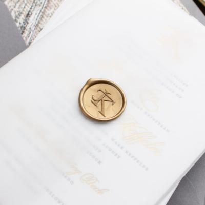monogram wax seal gold