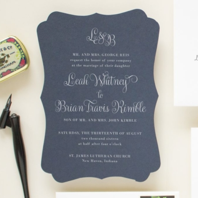 Monogram wedding invitation in navy blue