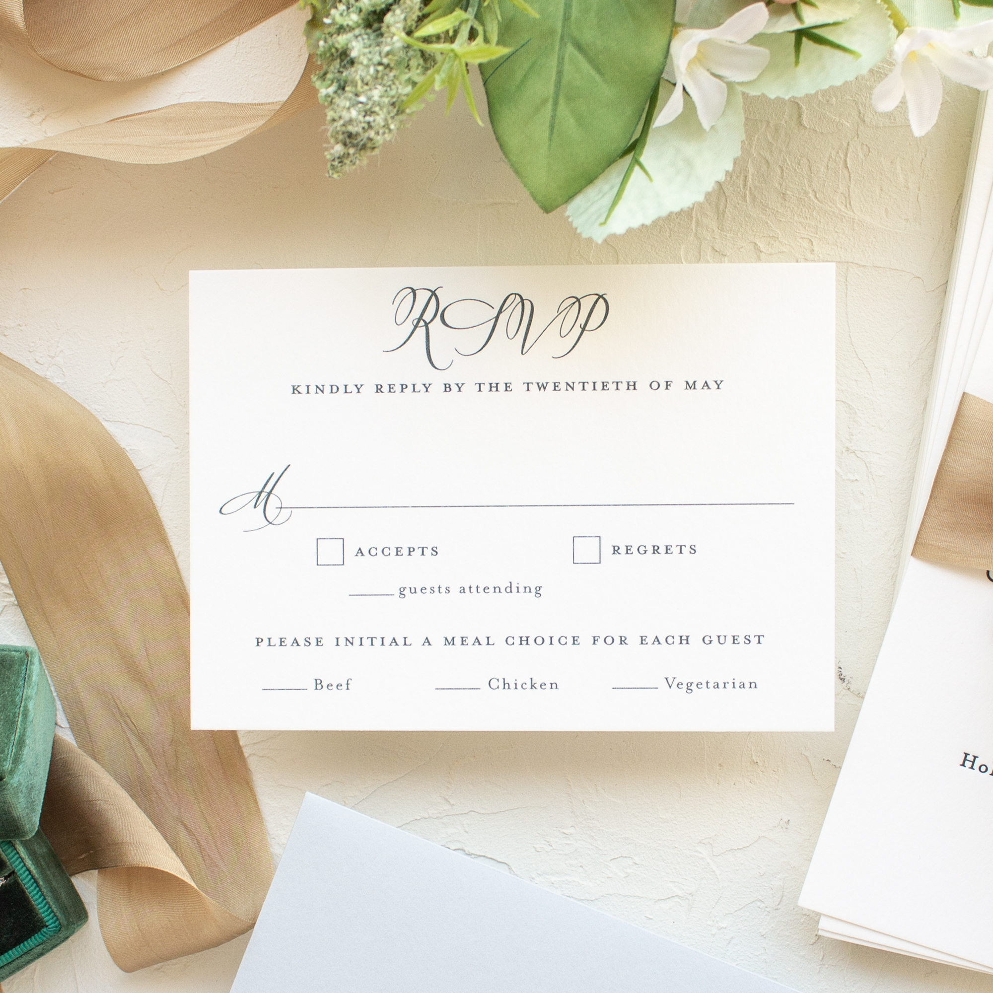 pine green wedding rsvp card