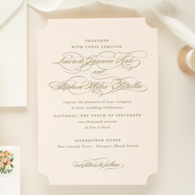 die cut invitation on blush pink paper
