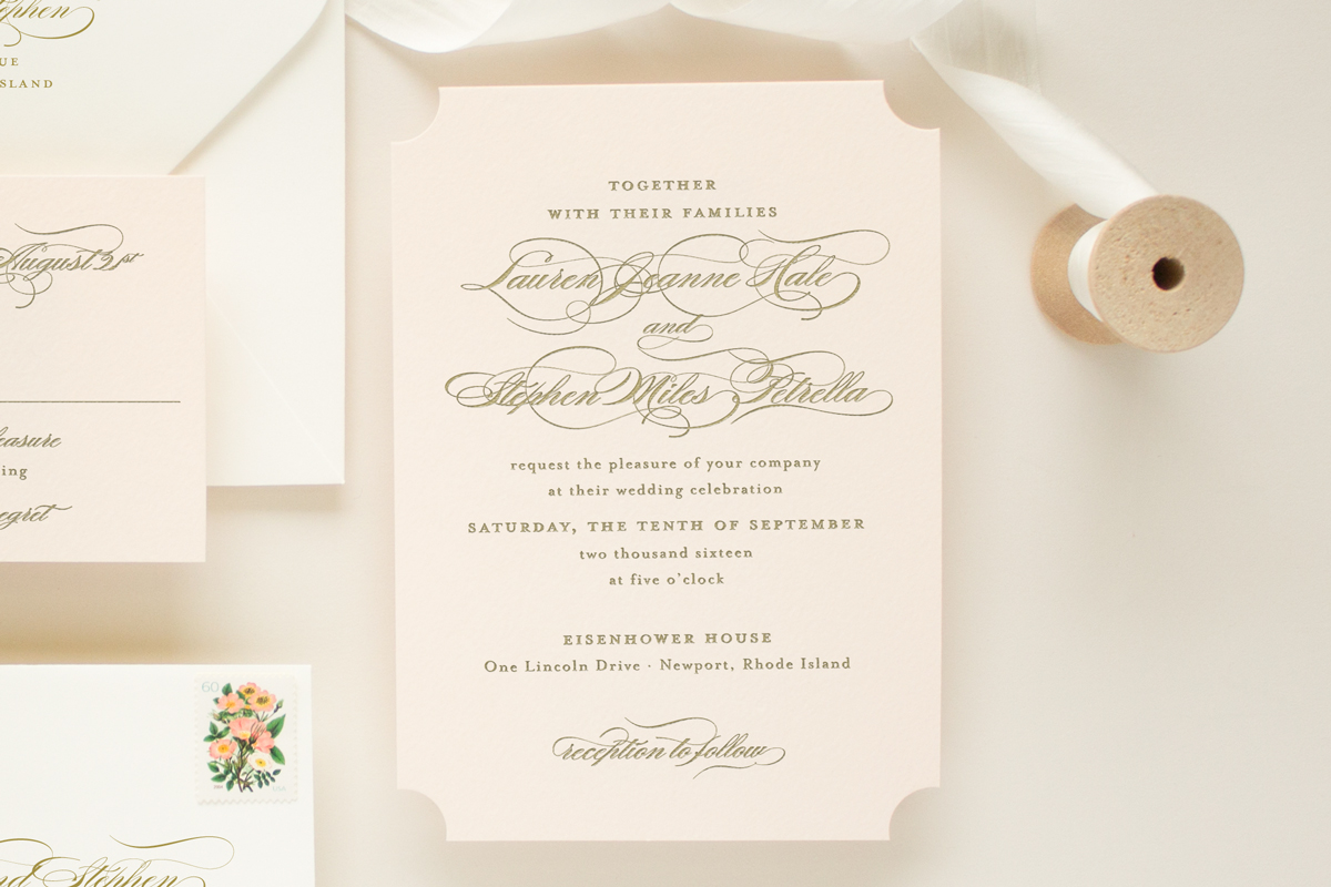 die cut invitation on blush pink paper