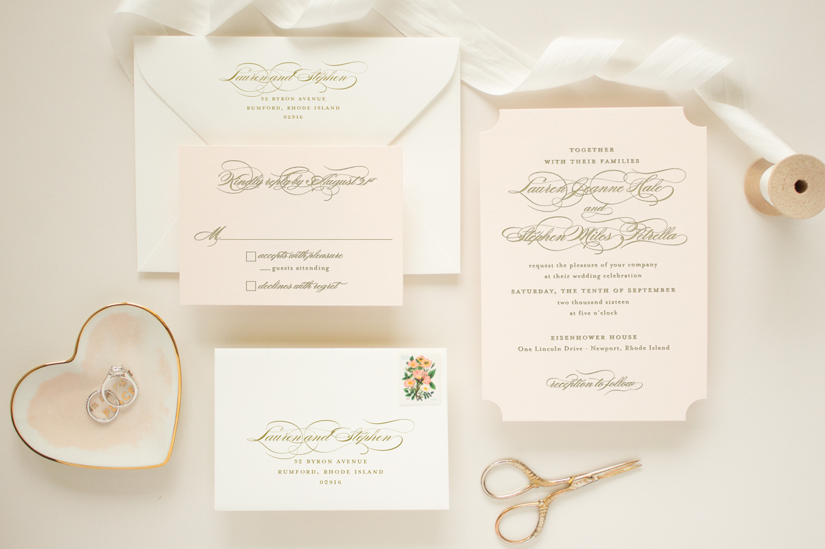 pink and gold letterpress invitation suite