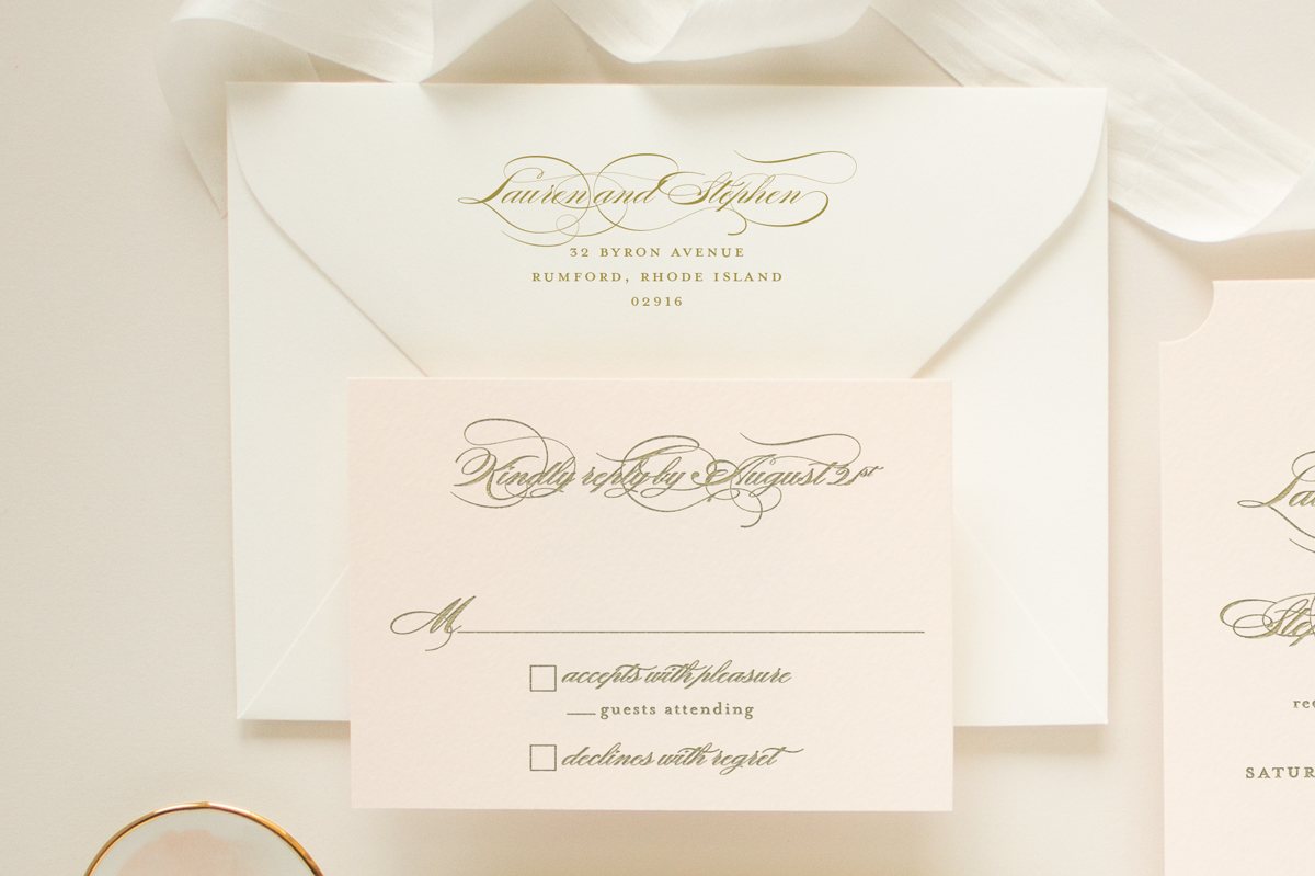 Pink and gold wedding RSVP card