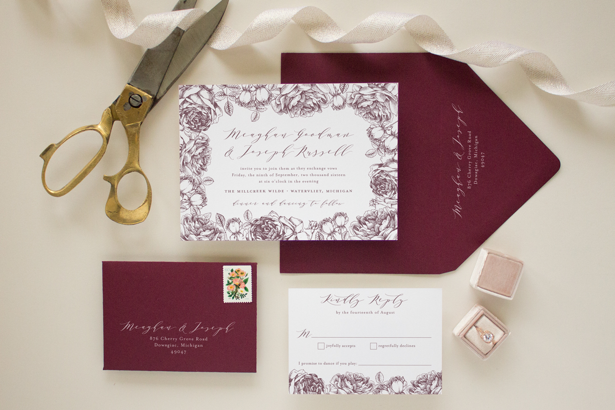 custom invitation with rose border