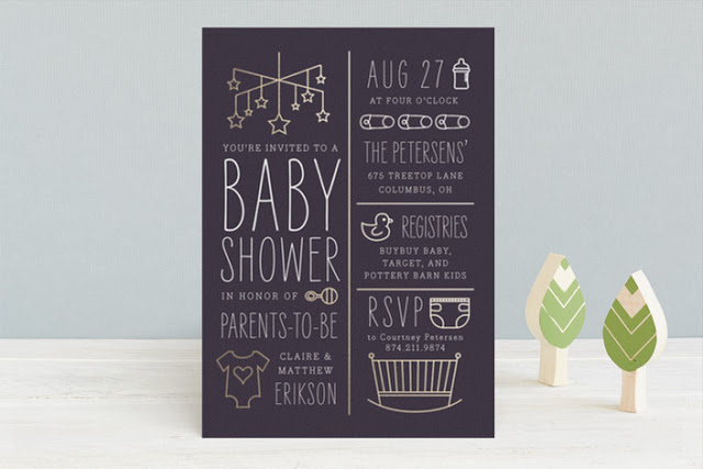 gold foil shower invitation for Minted
